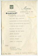 MENU PROFESSION DE FOI ANNE HOTEL DU MANOIR ARLEMPDES 1971  CAMPAGNE BILLECART