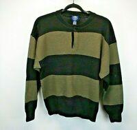 Gap Long Sleeve Men's X-Large Henley Men's Sweater Wool Black & Brown Stripe