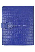 NUOVO iPad 2 3 & 4 Blu Reale Stampa Coccodrillo Lusso in Vera Pelle Cover Custodia Supporto