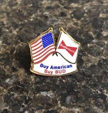 """Vintage """"Buy American Buy Bud"""" Budweiser Beer Advertising Hat Lapel Pin"""