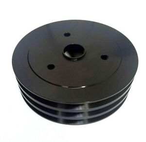 SBC Chevy 3 Triple Groove Black Aluminum Crankshaft Pulley Short Water Pump SWP
