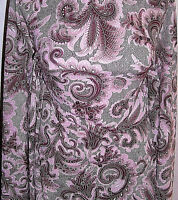 Rose Pink Brown Paisley Print Polyester Lycra Stretch Fabric 1 Yard 18 Inches