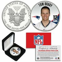 TOM BRADY QB #12 Patriots NFL 1oz PURE.999 SILVER AMERICAN EAGLE with Deluxe Box