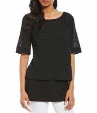 Eileen Fisher Black Organic Cotton Grid-Textured Voile Lightweight Box Top L