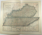 Original 1903 Dated Map of Tennessee & Kentucky by Dodd Mead & Company. Antique