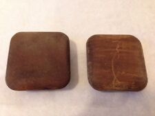 Pair of 2 Square Wood Vintage Round Edge Antique Cabinet Knobs Drawer Pulls 5cm