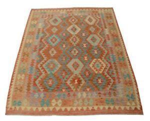 Afghan Kelim 244 X 182 CM Handwoven Oriental Kilim New Multicolour Pastelfarben
