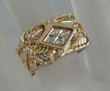 Estate 10 Karat Black Hills Gold Diamond Mens Ring 10 3/4 by Coleman 10K F0989