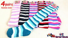 4 Pairs Over The Knee High Socks Striped Thigh Women Stocking Size 2-8 990179