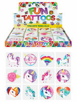 72 UNICORN TEMPORARY TATTOOS Assorted Design Party Bag Filler Loot Girls Boys UK