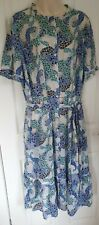 LADIES M&S BLUE MIX FLORAL PRINT TIERED BUTTON FRONT MIDI DRESS SIZE UK 18 BNWT
