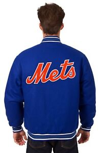 MLB New York Mets JH Design Wool Reversible Jacket With Embroided Logos Blue