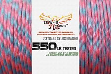 Type-III 7 Strand 550 Cord Paracord (Camo and Two-Tone) 100, 50, 25,10 ft Hanks