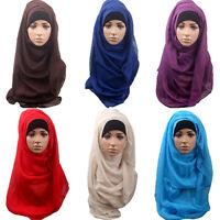 ITS- CO_ Women Cotton Muslim Islamic Ramadan Hijab Long Scarf Shawl Wrap Headwea