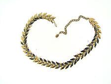 Vintage Estate Gold Blue White Mix Paint Accent Chevron Spike Choker Necklace