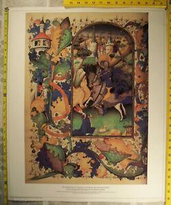 Vtg Laminated Fine Art Poster 22x26 Guillebert de Mets, St George and the Dragon