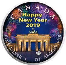2018 $5 Happy New Year BERLIN MAPLE LEAF 1 Oz Silver Coin.