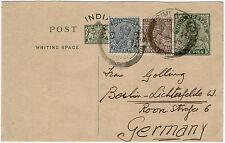 Indien 1934, 9 Pies Ganzsachenkarte mit ZuF nach Deutschland