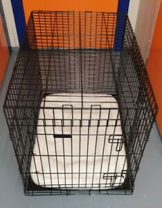 Ellie-Bo Black 36 inch Deluxe Large 2 Door Folding Dog Puppy Cage with Bedding
