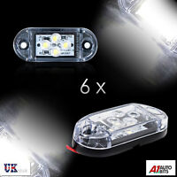 6x 12v Smd 4 Led White Side Front Marker Lights Position Truck Trailer Lorry Dot
