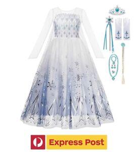 Kids Girls Princess DRESS Up + ACCESSORY Costume ELSA FROZEN Party- EXPRESS POST