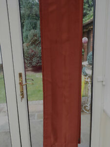 BNWOT LONG TERRACOTTA SATIN/ VELVET BLACKOUT STRIPED DOOR CURTAIN 52 x 108 In