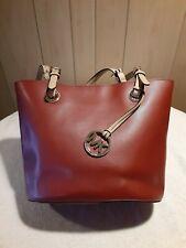 """MK MICHAEL KORS """"Jet Set"""" Red Leather Shoulder Tote Shopper Carryall Purse Bag"""