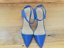 Zara chic gorgeous bright blue leather stiletto shoes, size US 7 1/2, NEW