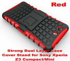For Sony Xperia Z3 Compact Red Heavy Duty Strong Tradesman TPU Hard Case Cover