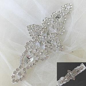 Rhinestone Applique Hot Glued Crystal Motif for Wedding Dress Bridal Garter Set