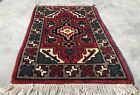 Authentic Hand Knotted Vintage Indo Wool Area Rug 1.11 x 1.5 Ft (2847 KBN)