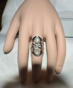 GLAMOROUS 2.00 ct.  NATURAL MOONSTONE .925 STERLING SILVER GYPSY STATEMENT RING
