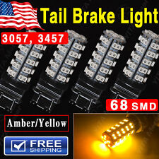 4PCS Amber Yellow 3157 68SMD Car Tail Brake Stop LED Bulb Lights 3057 3457 4157