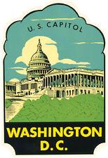 Washington  DC  Capitol Bldg.    Vintage 1950's Style Travel Decal Sticker
