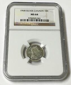 1968 Silver Canada 10C MS 64