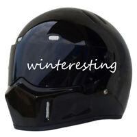 Street Racing Full Face Helmet For Motorcycle DOT Gloss Black 1# Black Visors
