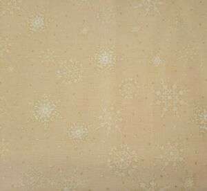 1 yd Jolly Old St. Nick Laurie Cook Quilting Treasures Snowflakes Tan