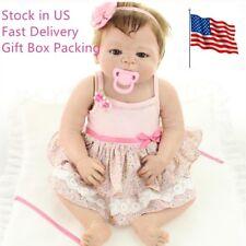 """22"""" Full Body Silicone Doll Girl Soft Vinyl Reborn Baby Doll Waterproof Bath Toy"""