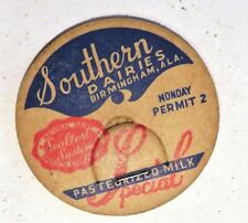 "Vintage Milk Cream Dairy Bottle Cap 1-5/8"" Southern Dairies Birmingham Alabama"
