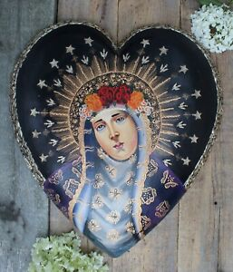 XL Heart Hand Painted Our Lady of Sorrows & Milagros Patzcuaro Mexican Folk Art
