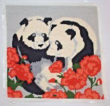 Vintage Pandas Red Flowers Floral Needlepoint Complete Unframed