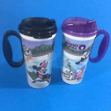 Disney Parks Rapid Fill Mugs Mickey Mouse Pool Scene Lot of 2 Whirley Travel Lid