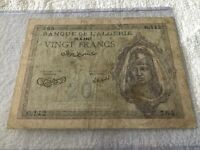 Algeria 20 francs 1943 banknote (circulated Very Good condition)