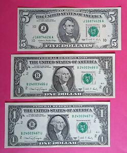 Lot de billets 2x1$ et 5$ dollars États - Unis, USA 1988 TTB