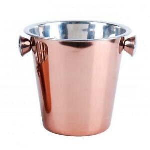 Mirror Polished Copper Champagne Ice Cube Serving Bar Party Bucket with Handle