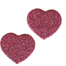 HEARTS-PINK GLITTER (2 Pc)Iron On Applique Patch/Valentines, Heart, Love