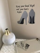 Silver Gray High Heel Sticker Wall Vinyl Ladies Shoe Mural Decal Home Decor