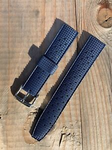 Tropic Vintage Divers Style Blue Silicone Rubber Watch Strap 20mm Fuerman
