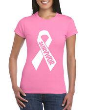 Pink Ribbon Survivor Ladies T-Shirt, Breast Cancer Awareness Pink Gift Adult Top