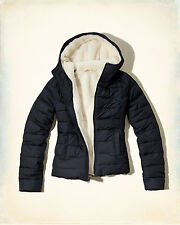 Hollister Women's North Jetty Navy Sherpa Lined Puffer Ski Jacket Coat XS NEW